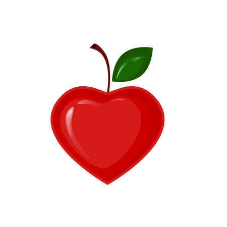 Vector red apple in the shape of heart Vector