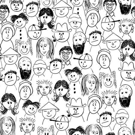 caricaturas de personas: multitud de personas sin fisuras