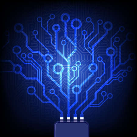 Electronic tree. Vector circuit board background.