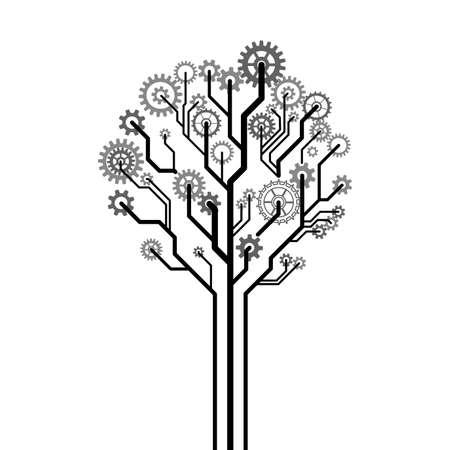 Boom gemaakt van tandwielen Een vector illustratie Stock Illustratie