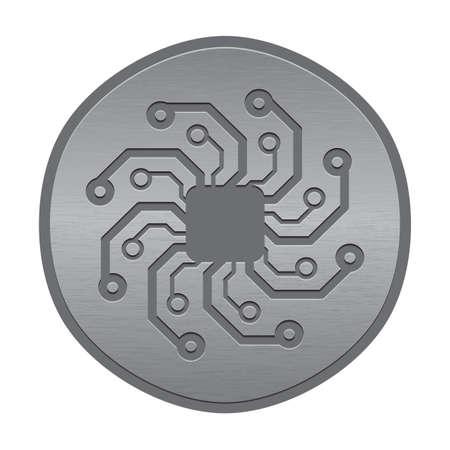 Abstract electronic icon or logo. Circuit board sun.