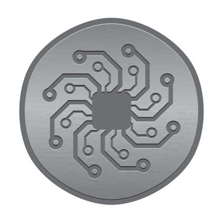 Abstract electronic icon or logo. Circuit board sun.