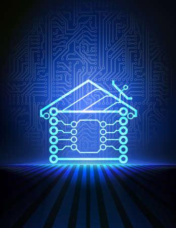 redes electricas: casa fondo automatización Vectores