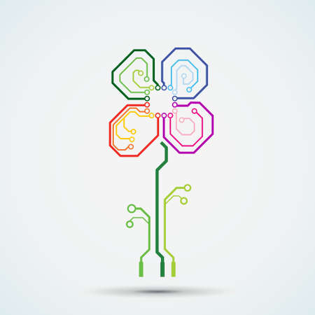 tech logo. Circuit board flower Vector