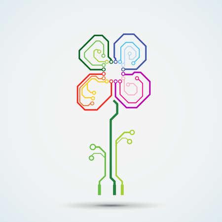 tech logo. Circuit board flower