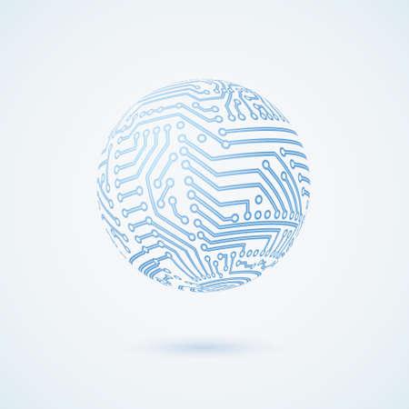 circuit board globe symbol. Business concept.