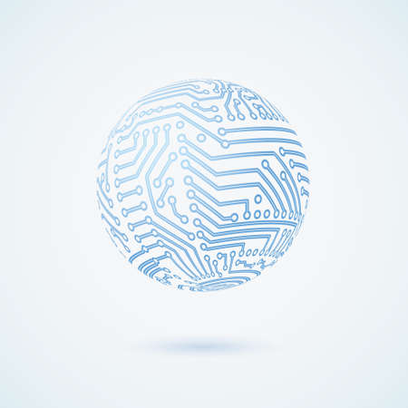 circuit board globe symbol. Business concept. Vector