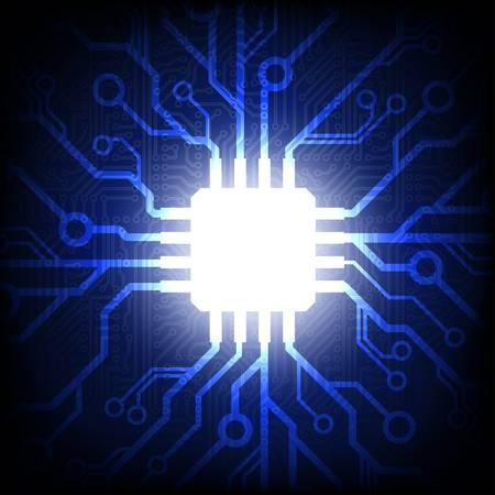 Sfondo del circuito stampato con microchip Archivio Fotografico - 19503592