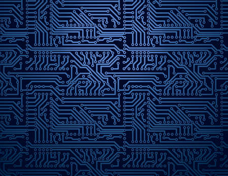 pcb: Vector blue circuit board background Illustration