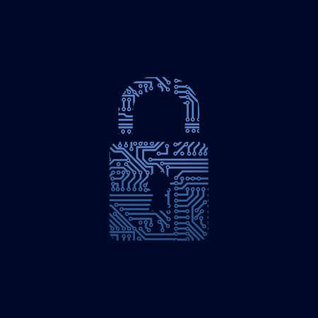 Data security icon  Circuit board padlock