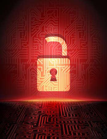 安全コンセプトはサイバー スペース サイバー犯罪の抽象的な背景に南京錠をオープン