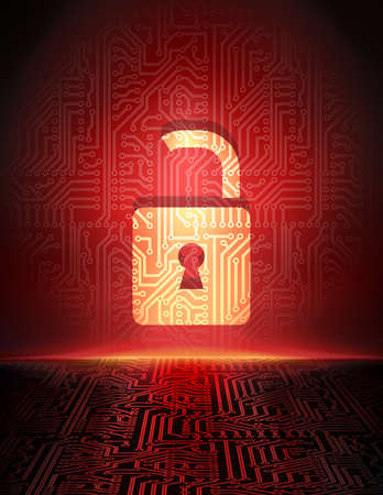 cyber crime:  Safety concept  opened padlock in cyber space  Cyber crime abstract background