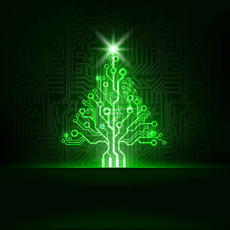 fiestas electronicas: Tecnología abstracto del vector del árbol de Navidad Vectores