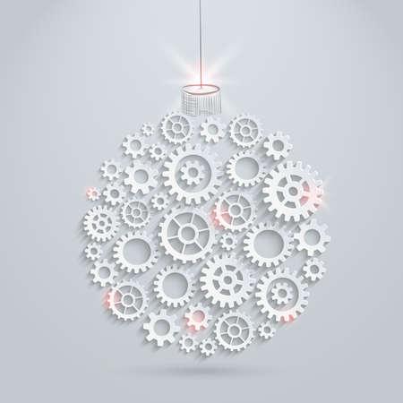 ベクター歯車クリスマス ボール  イラスト・ベクター素材