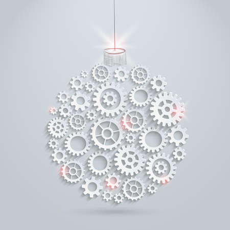Vector gears christmas ball