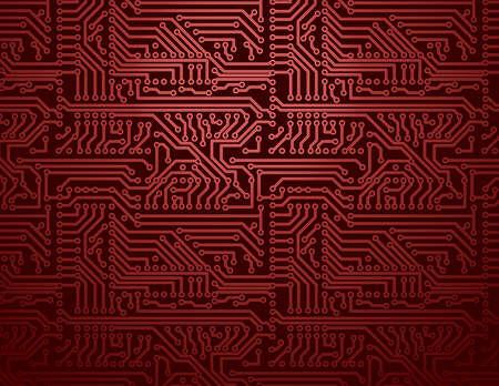 赤の回路基板のベクトルの背景  イラスト・ベクター素材