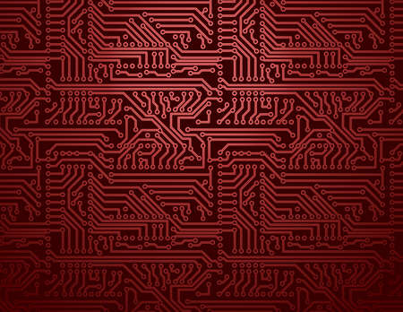 Vector red circuit board background