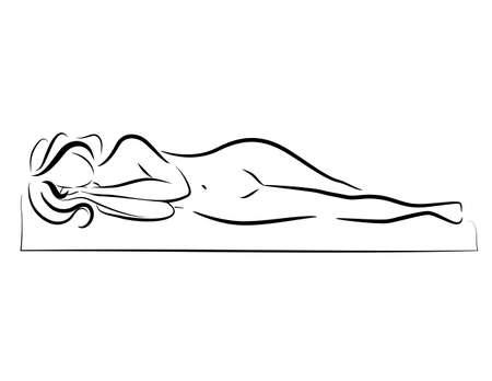 眠っている女性のベクトル シルエット  イラスト・ベクター素材