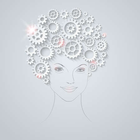 Vector futuristic woman portrait  Unusual hairstyle made of gears  Vector
