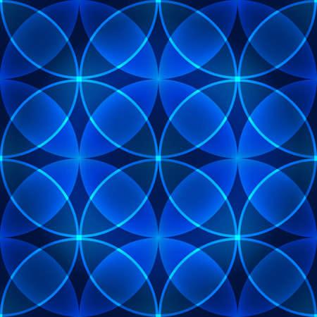 Vector naadloze blauwe patroon van cirkels Stock Illustratie