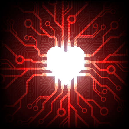 Vector electronic connected heart Vector