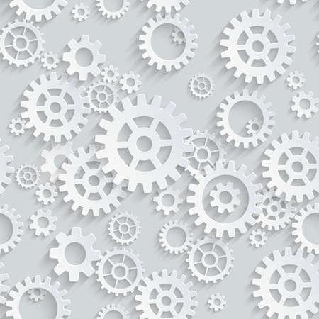 Vector seamless gears 3d mechanical pattern Illustration