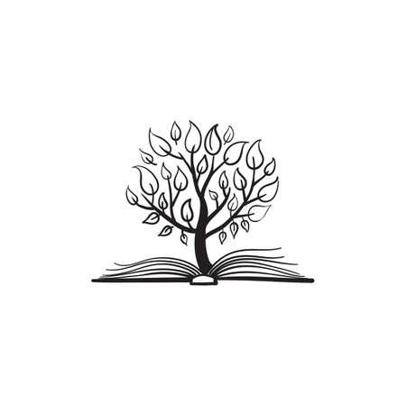 arboles blanco y negro: Vector �rbol que crece de un libro
