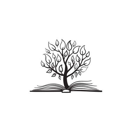 libraries: Vector tree growing of a book