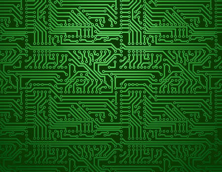 Vector green circuit board background Çizim