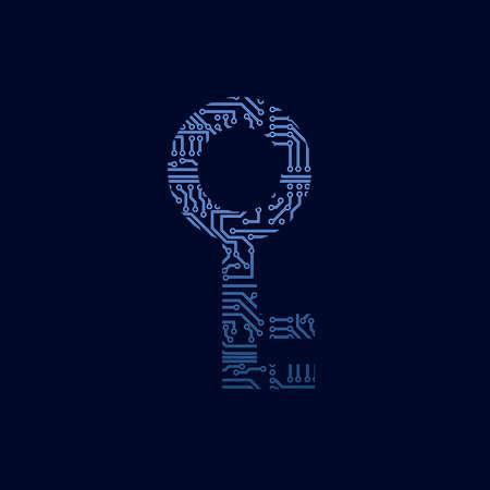 encryption icon: Data security icon. Circuit board key.