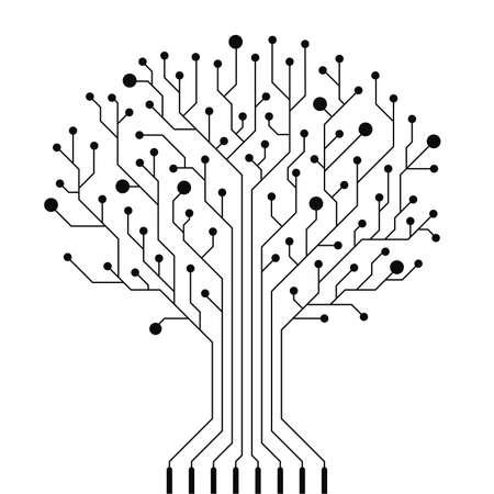 circuitos electronicos: Vector tarjeta de circuitos árbol Vectores
