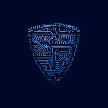 security: Data security icon. Circuit board shield