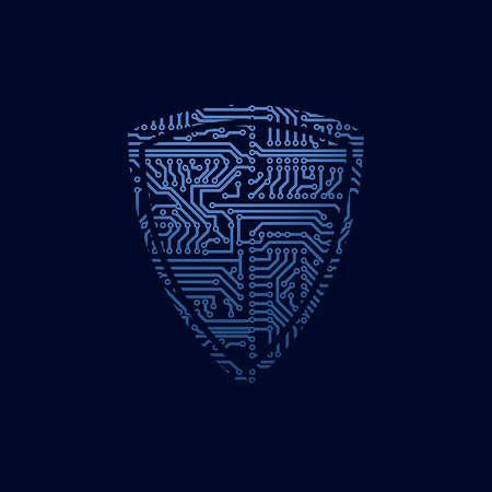 escudo: Icono de seguridad de datos. Protector de la placa de circuito