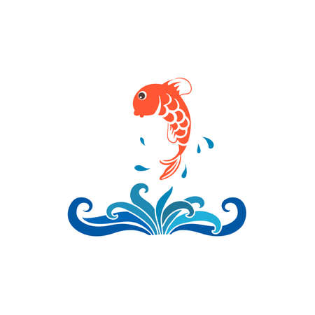 Vector cartoon fish jumping out of water