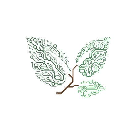 circuit board twig with leaves Illustration
