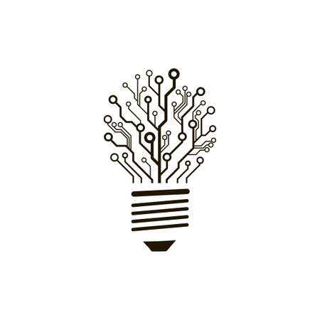 pcb: A concept of information technology . circuit board bulb.