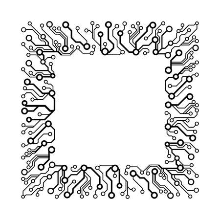 simple frame: technology simple background. Frame made of circuit board pattern
