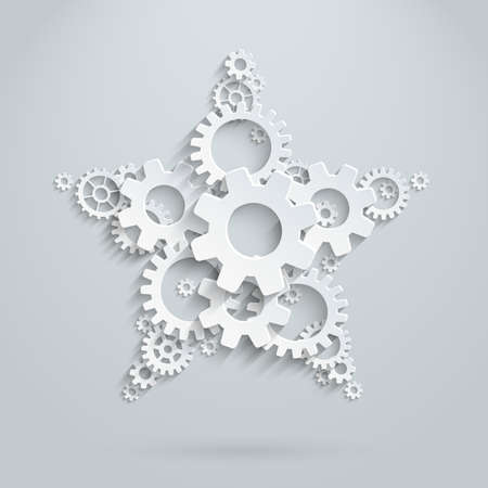 star, made of 3d flat gears. Concept picture for team work and win Illustration