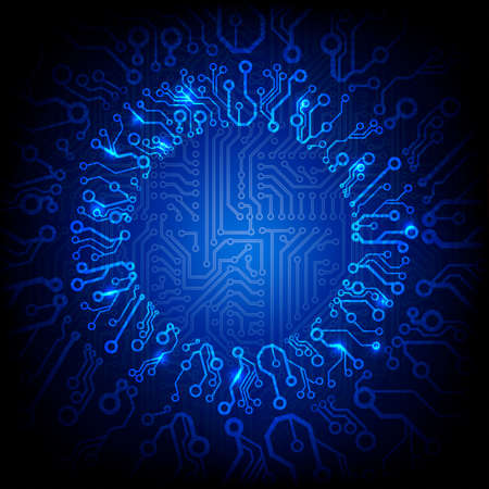 circuit board background with the glowing circle