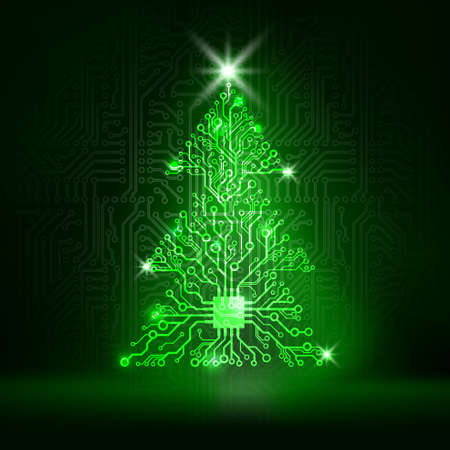 Vector circuit board Christmas tree Illustration