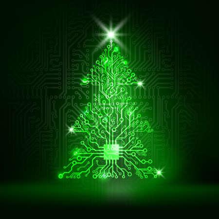Vector circuit board Christmas tree Illustration