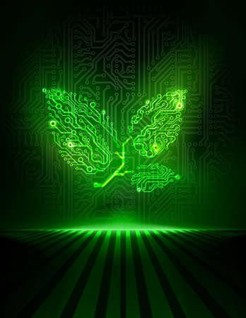 Vector circuit board verlaat. Concept van innovatie of mvo-concept