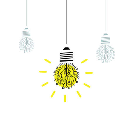 ベクトル技術アイデア コンセプト。回路基板照明用電球  イラスト・ベクター素材