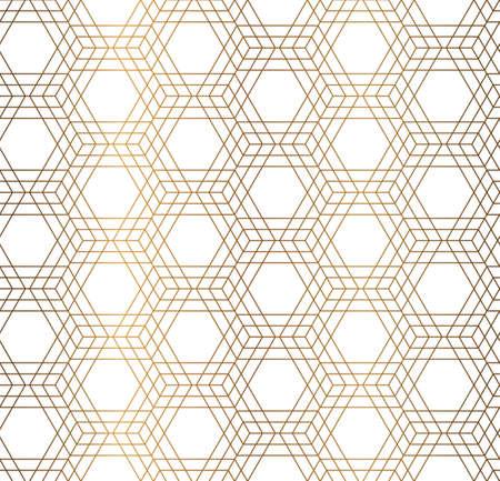 Vector geometrical hexagon simple background. Golden seamless pattern. Illustration