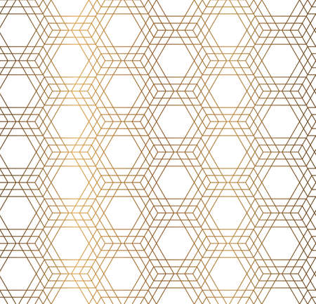 small scale: Vector geometrical hexagon simple background. Golden seamless pattern. Illustration