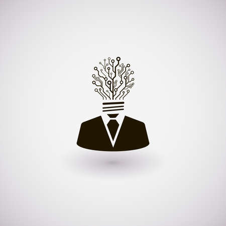 Vector businessman icon. Man with the head made of circuit board in the shape of bulb. Technology idea concept illustration.