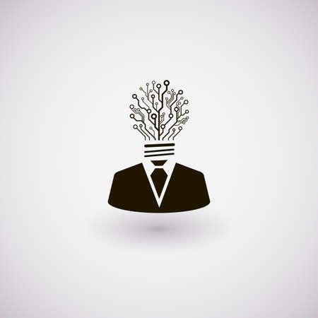 Vector zakenman icoon. Man met het hoofd gemaakt van de printplaat in de vorm van de lamp. Technologie idee concept afbeelding.