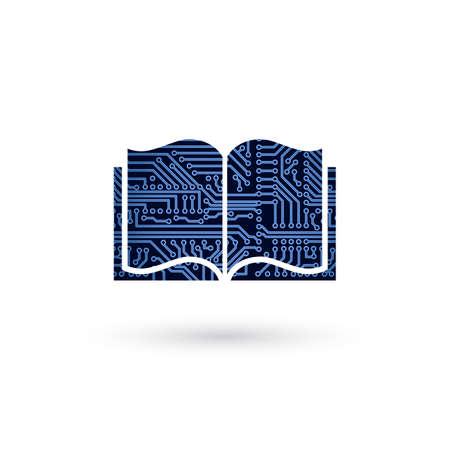 ベクトル e ラーニングの概念。電子回路基板は、本を開いた。技術教育の背景