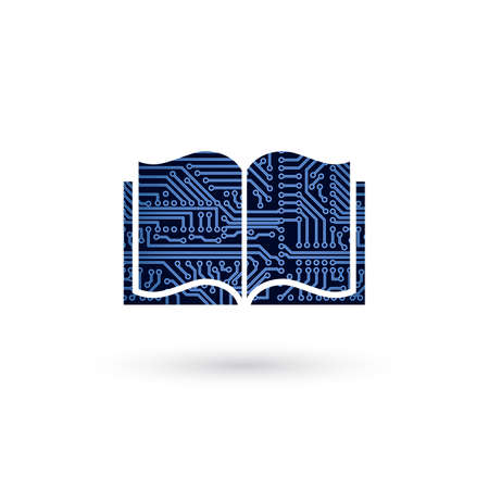 Vector e-learning concept. Circuit board electronic opened book. Technology education background 일러스트