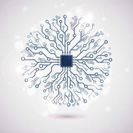 Vector circuit circle snowflake
